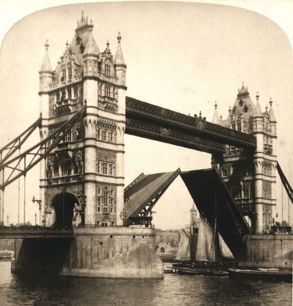"'The New Tower Bridge, London', 1896. From ""Underwood and Underwood Publishers, New York-London-Toroto Canada-Ottawa Kansas.&quot"