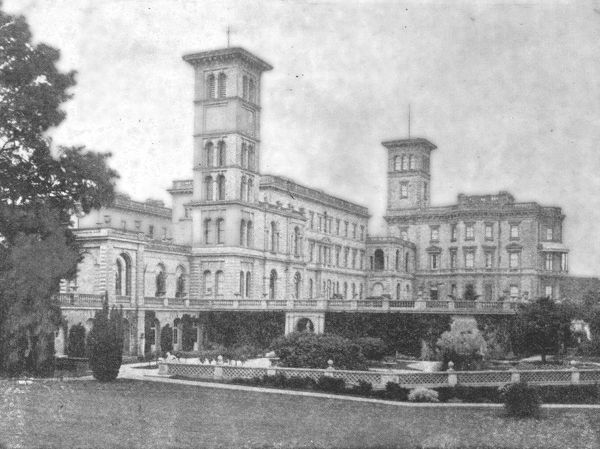 'Osborne House at the time of Victoria', (1901). View of Osborne House near East Cowes on the Isle of Wight, during the reign of Queen Victoria (1837-1901).   Queen Victoria and Prince Albert bought Osborne and its estate in 1845