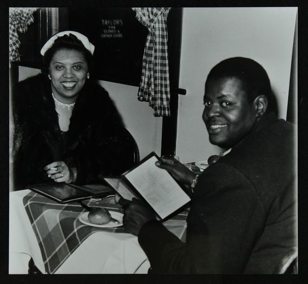 Oscar Peterson looking forward to dinner at Marco's Restaurant after a concert at Colston Hall, Bristol, 1955