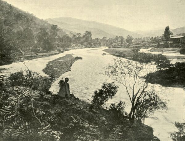 "'The Ovens at Bright', 1901. Hamilton Hume and William Hovell explored the area in 1824, naming the Ovens River after Major John Ovens, Secretary to Thomas Brisbane, Colonial Governor of New South Wales. From ""Federated Australia&quot"