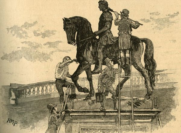 "Opponents of British rule in Ireland painting the statue of King William III black, Dublin, Ireland, 1821 (c1890). From ""Cassell's History of England - Special Edition, Vol. V."" [Cassell and Company, Limited, London, Paris, New York & Melbourne"