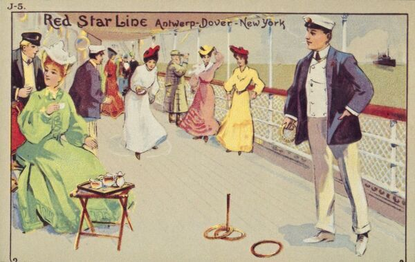 Peg quoits on board a Red Star Line passenger ship, 1907. Passengers enjoy tea and peg quoits (also known as the Ring Game) on deck. Postcard