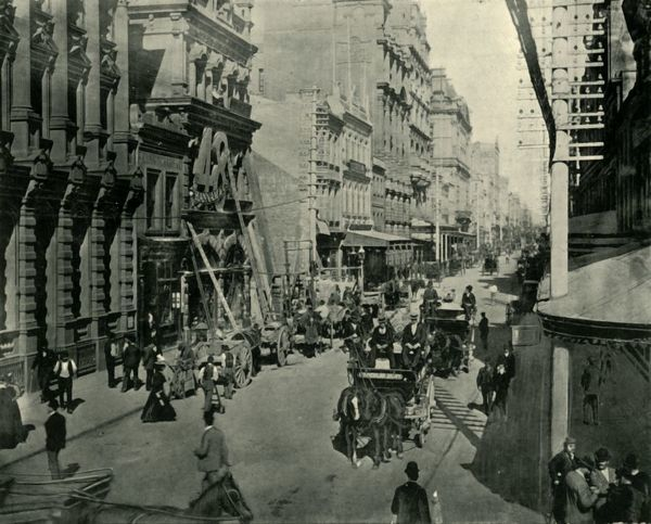 "'Pitt Street, Sydney', 1901. Assumed to be named after British Prime Minister William Pitt, the road ended close to water tanks or ""pits"" excavated in 1791-1792 as a source of fresh water for the colony. From ""Federated Australia"""