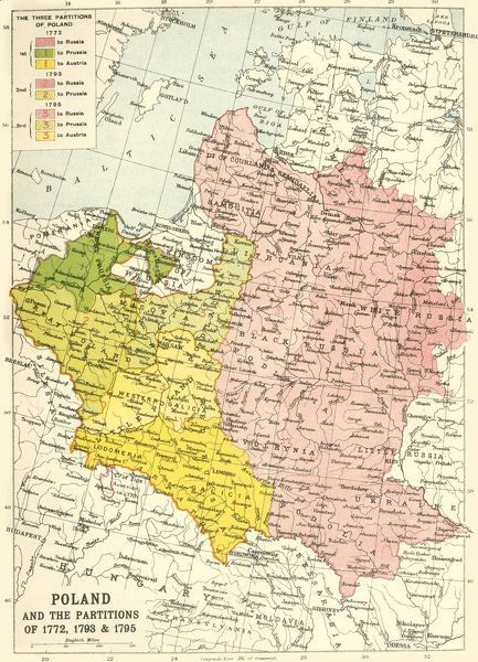 "'Poland and the Partitions of 1772, 1793 & 1795', (c1920). Map showing how territory in Europe was divided between the empires of Russia, Prussia and Austria in the 18th century. From ""The Great World War - A History"" Volume IV, edited by Frank A Mumby"