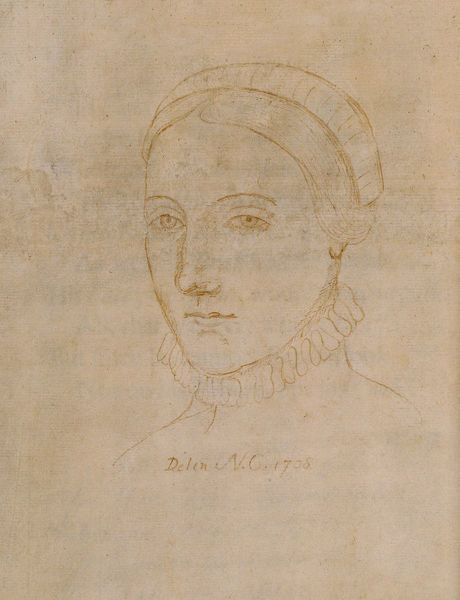 Portrait of Anne Hathaway (1555/6-1623), the wife of William Shakespeare, 1708. Found in the Collection of Colgate University Libraries
