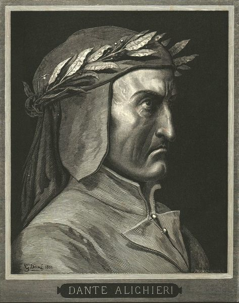 "Portrait of Dante Alighieri, (c1890). Italian writer and poet Dante Alighieri (1265-1321) whose long narrative poem ""The Divine Comedy"" written in Italian c1308-1321, tracing his imaginary journey from Hell, through Purgatory and finally to Heaven"
