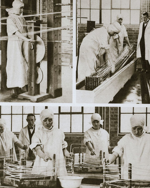 Preparing cat gut at the London Hospital's own factory, London, 20th century. Cat gut is a kind of chord prepared from the intestine of animals and used for musical instruments. The work seen here is taking place in the annexe of the London Hospital