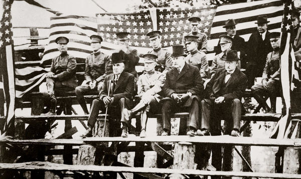 President Warren G Harding at a baseball park, Fort Benning, Georgia, USA, early 1920s. A Republican, Warren Gamaliel Harding (1865-1923) was the 29th President of the United States, serving in office from 1921 until his death from a heart attack on 2 August 1923