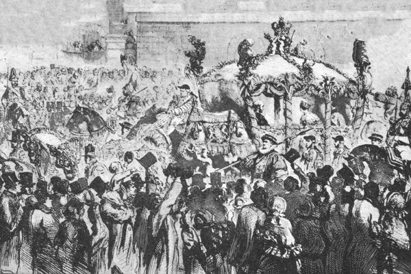 "'The Procession to Westminster, January 31, 1856', (1901). Queen Victoria (1819-1901) travelling by state coach to the Houses of Parliament in London.   From ""The Illustrated London News Record of the Glorious Reign of Queen Victoria 1837-1901"