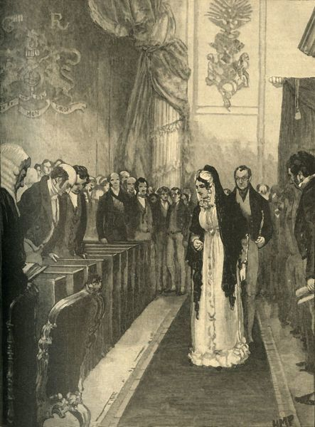 "Queen Caroline entering the House of Lords during her trial, Westminster, London, 1820 (c1890). From ""Cassell's History of England - Special Edition, Vol. V."" [Cassell and Company, Limited, London, Paris, New York & Melbourne, c1890]"