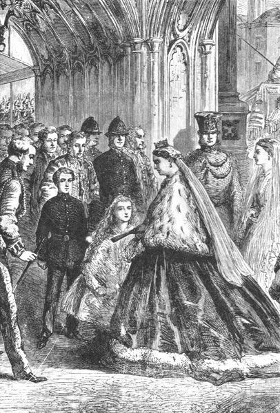 "'Queen Victoria entering Westminster Palace, February 5, 1867', (1901). Queen Victoria (1819-1901) at the Houses of Parliament in London. From ""The Illustrated London News Record of the Glorious Reign of Queen Victoria 1837-1901"