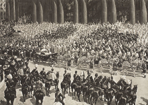 Queen Victoria's Diamond Jubilee, London, 22 June 1897 (1901). Crowds watching the procession celebrating Queen Victoria's (1819-1901) 60 years on the throne. From The Illustrated London News, 1901