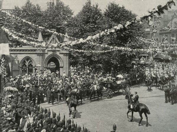 'The Queen's Visit To Her Birthplace: The Scene Outside St. Mary's Church, Kensington', (c1897)
