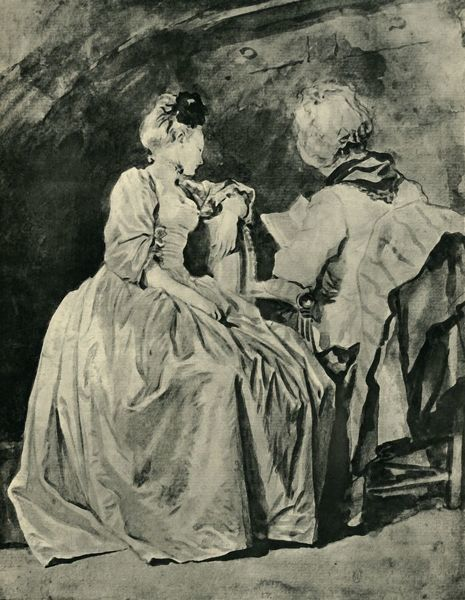 'Reading', c1778, (1943). The subjects are Marguerite Gerard (1761-1837), the artist's sister-in-law, and his wife Marie-Anne Gerard (1745-1823), who was a painter in her own right