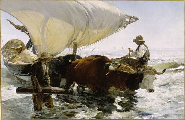 Return from Fishing: Towing the Bark, c. 1895