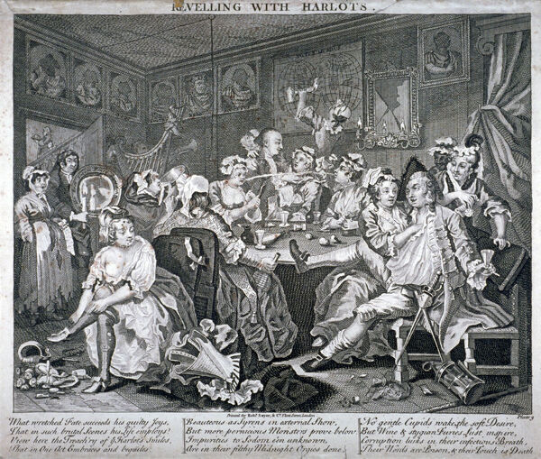 'Revelling with Harlots', plate III of A Rake's Progress, 1735. Tom Rakewell and a companion consorting with harlots in a tavern. On the right two women steal Rakewell's watch under the pretext of love-making. To the left a young woman dresses herself
