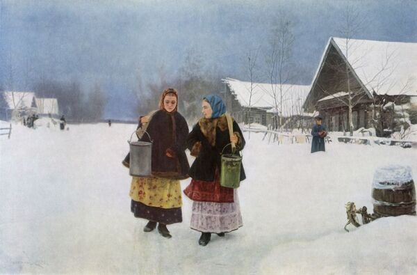 "'The Rival', 1891, (1965). Two women using yokes to carry pails, watched by a man in the distance. Painting in the State Tretyakov Gallery, Moscow. From ""Russian Painting of the 18th and 19th Centuries"" by Vladimir Fiala. [Artia, Czechoslovakia"