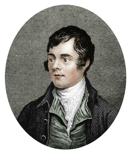 Robert Burns, Scottish poet, 1877. Burns (1759-1796) was a pioneer of the Romantic movement. (Colorised black and white print)