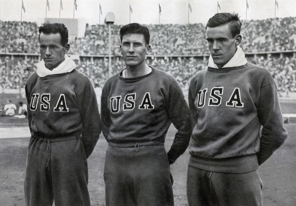 Robert Clark, Glenn Morris, John Parker, American decathletes, Berlin Olympics, 1936. The three achieved a clean sweep of the medals in the decathlon, with Morris taking gold, Clark silver and Parker bronze. A print from Olympia 1936