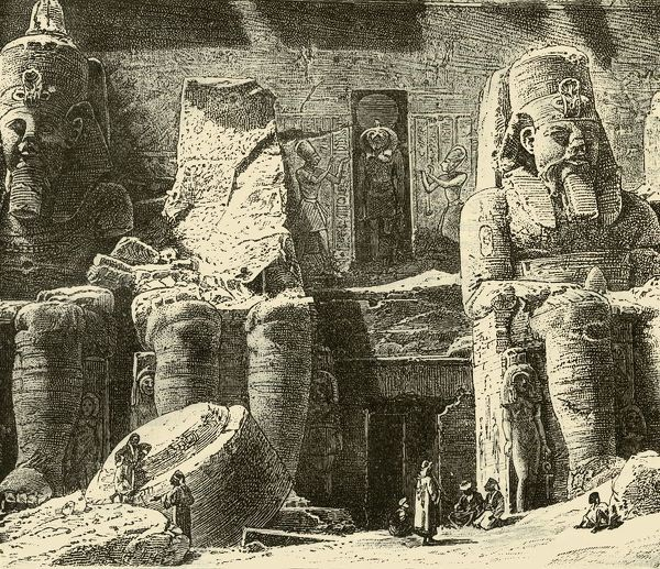 "'Rock-Temples at Abousimbel', 1890. Temple at Abu Simbel carved in 13th century BC, 19th dynasty reign of Ramesses II in memorial to the Pharoah and his wife, Nefertari. UNESCO World Heritage Site. From ""Cassell's Illustrated Universal History, Vol"