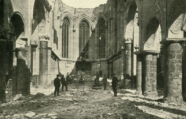 Ruined church at Vise in Belgium, 1914-1918, (c1920). 'The First Act in the Drama: the Ruins of the Church at Vise, where the German first invaded Belgium'. Damage after German forces attacked the town of Vise, early in the First World War
