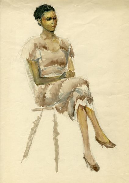 Seated woman in brown dress, c1952. Shirley Markham (1931-1999) studied Graphic Design and Illustration at Central School of Art in London from 1950-1952. The writer, artist, poet, and illustrator Mervyn Peake (1911-1968) was one of her tutors