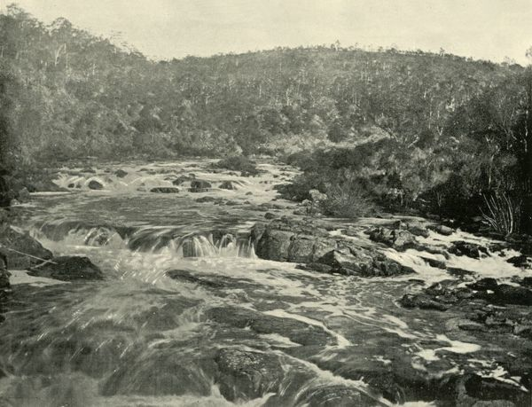 "'Second ""Basin"", South Esk River', 1901. Prior to development of the Trevallyn Dam there were three basins upstream on the South Esk River. From ""Federated Australia"". [The Werner Company, London, 1901]"