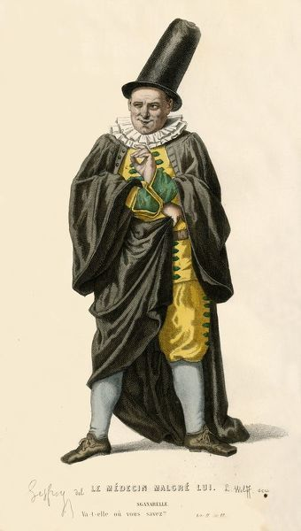 "Sganarelle, 1868. The character of Sganarelle in ""Le Medecin malgre lui"" (in English: The doctor/physician in spite of himself), a farce by Jean Baptiste de Moliere, first staged in 1666. From ""Oeuvres Completes De Moliere"""