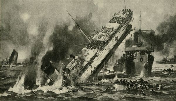 The sinking of the 'Anglia', First World War, 17 November 1915, (c1920). 'Mined in the English Channel: the sinking of the Hospital Ship Anglia'. The British ship SS 'Anglia' was requisitioned as HMHS (His Majesty's Hospital Ship) 'Anglia'