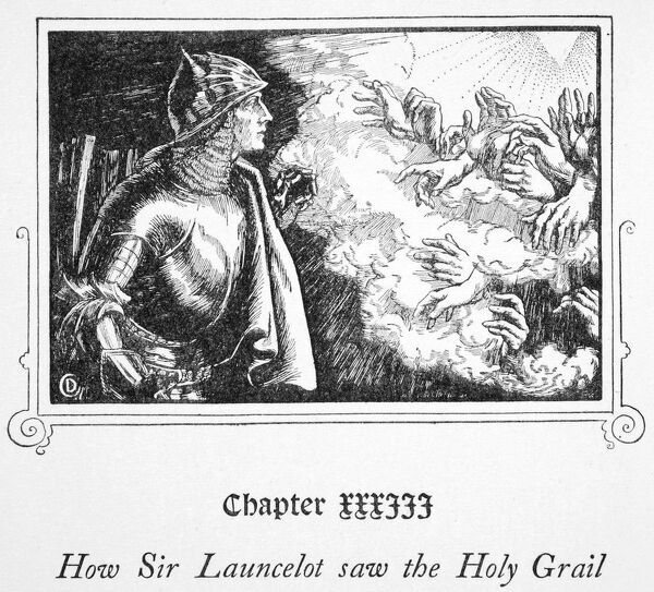 'How Sir Launcelot saw the Holy Grail', 1905. An illustration from Stories of King Arthur and the Round Table by Beatrice Clay, 1st Edition, 1905