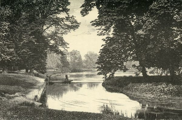 "'Sixth Form Bench, and Fellows' Eyot', 1911. Fellows' Eyot is a riverside field from which the Procession of Boats from Eaton can be viewed on the 4th June. From ""A History of Eton College (1440-1910)"", by Sir H. C Maxwell Lyte, K"