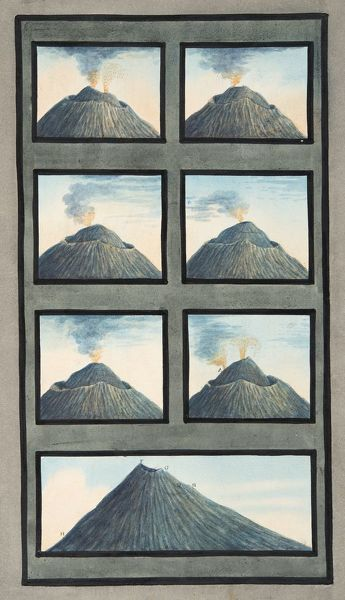 Snapshots of the eruption of Mount Vesuvius from 8th July to 29th October, 1767, from 'Campi Phlegraei: Observations on the Volcanoes of the Two Sicilies', by Sir William Hamilton (1730-1803), published 1776 (hand coloured engraving)