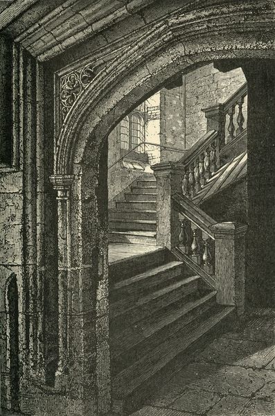 "'Staircase to the Chapel and Upper School', 1911. Generations of British and foreign aristocracy have been educated at Eton independent boarding school, founded in 1440 by King Henry VI. From ""A History of Eton College (1440-1910)"", by Sir H"