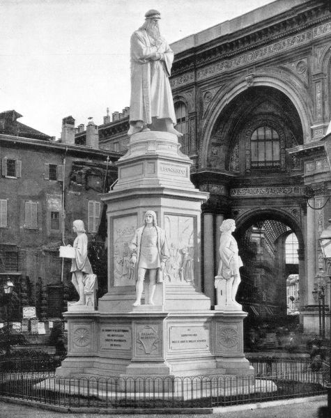 Statue of Leonardo da Vinci, Milan, Italy, late 19th century. Photograph from Portfolio of Photographs, of Famous Scenes, Cities and Paintings by John L Stoddard, published by the Werner Company, (Chicago, c1899)