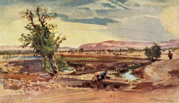 "'The Stream Flowing from the Spring of Elisha', 1902. Local tradition identifies the spring as the site where Elisha the prophet purified the water of Jericho. From ""The Holy Land"", painted by John Fulleylove, R.I. [Adam & Charles Black"