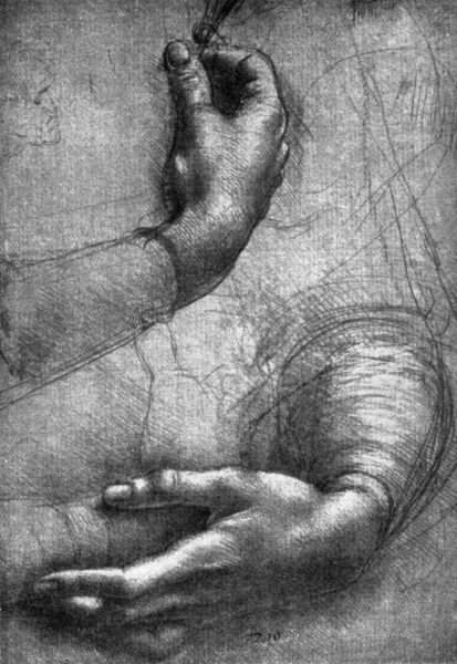 Study of hands, 15th century (1930). Found in the Windsor collection. From Apollo magazine, volume XII, no 71 (November 1930)