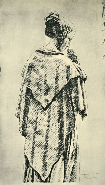 "Study of a woman from behind, early 19th century, (1943). Drawing in the National Gallery of Berlin. From ""Europaische Handzeichnungen"", (Five Hundred Years of European Drawings), by Bernhard Degenhart. [Atlantis-Verlag Berlin, Zurich"
