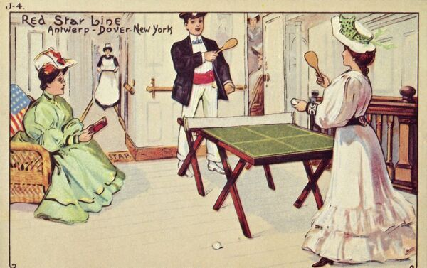 Table tennis on board a Red Star Line passenger ship, 1907. The Red Star Line ran between Antwerp in Belgium, Dover in England and New York in the USA. Postcard