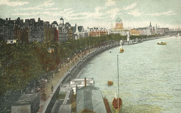 The Thames Embankment, London, c1915. The Embankment was designed by the civil engineer Joseph Bazalgette to accommodate his new sewer system and to provide a thoroughfare alongside the River Thames. Postcard