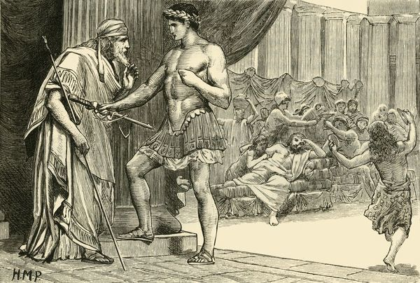 "'Theseus and Aegeus', 1890. in Greek mythology, Aegeus was king of Athens and the father of Theseus, who may have existed as a real person c8th century BC. From ""Cassell's Illustrated Universal History, Vol. I - Early and Greek History"""