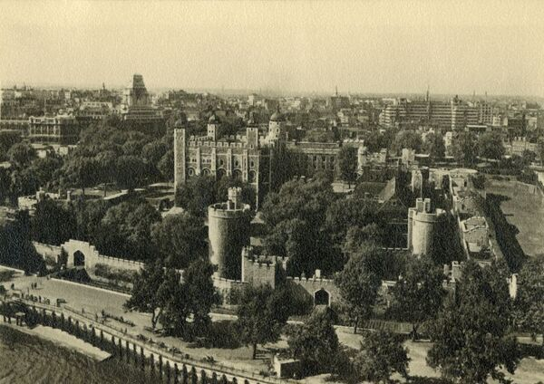 'Tower of London. General View from the South', c1920. London's famous historic palace, prison, fortress and armoury, dating from the 11th century. In the foreground is the River Thames. Postcard