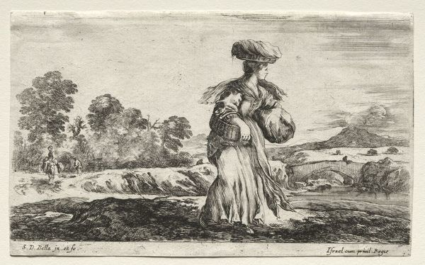 Various Figures and Landscapes: Peasant Woman Carrying a Basket on her Head, 1649