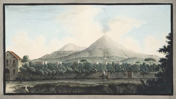 View of Mount Veusvius form the sea shore; at Resina, between Portici and Torre del Greco, Plate VII, from 'Campi Phlegraei: Observations on the Volcanoes of the Two Sicilies', by Sir William Hamilton (1730-1803), published 1776 (hand coloured engraving)