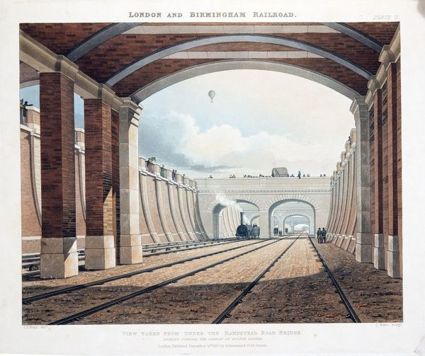 View Taken from Under the Hampstead Road Bridge, looking towards the station at Euston Square, published 1837 (hand coloured engraving). From Collection of 'Six Coloured Views on the London and Birmingham Railway' by Thomas Talbory Bury