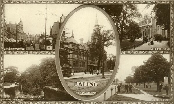 Views of Ealing, west London, 1917. The Broadway, Walpole Park, the Free Library, the Common and Victoria Hall. Postcard. [The Pelham Series of local views, published by Boots the chemists]