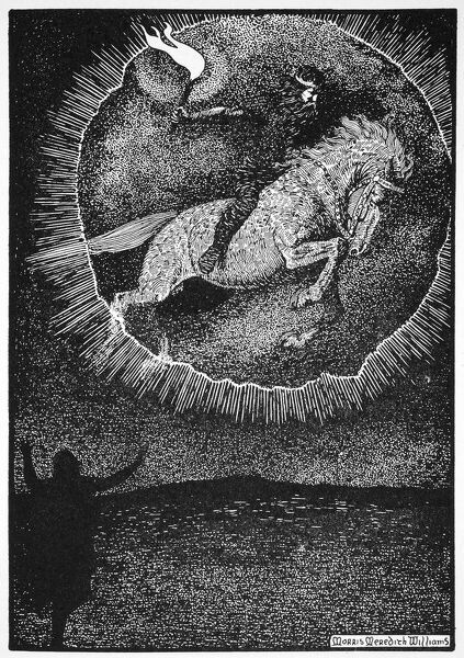 'The Vision of the Man on the Grey horse', 1913. A Christian man sees the vision of Odin leaping through a ring of fire on a grey horse. Illustration from The Northmen in Britain by Eleanor Means Hull, published 1913