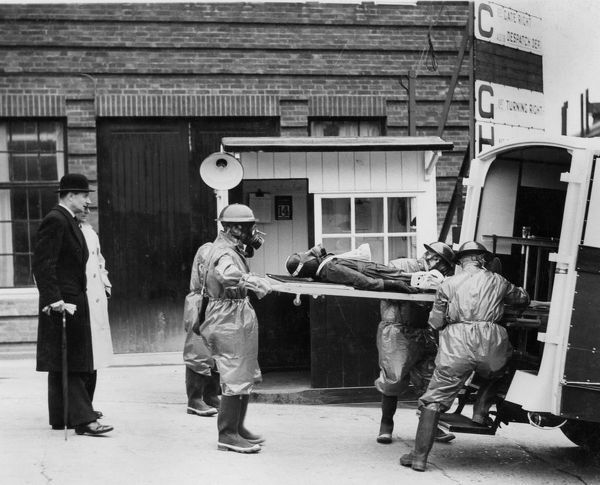 Volunteer stretcher party at Vauxhall factory, Wing Commander Hodsall, WW2.. Creator: Unknown