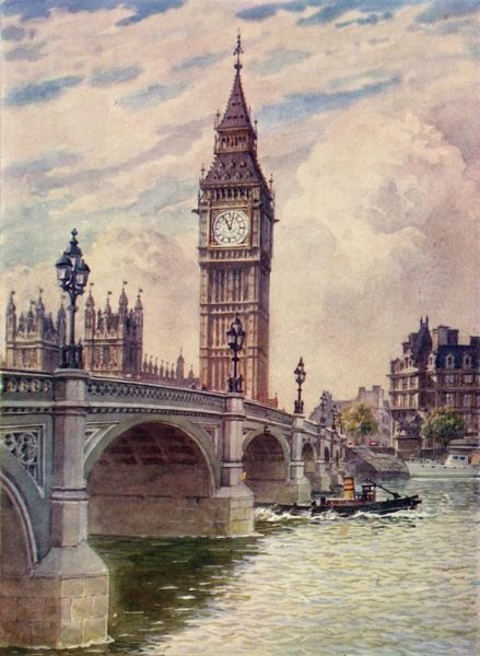 "'Westminster Bridge and Big Ben', c1948. From ""Newnes' Pictorial Knowledge Volume 3"". [George Newnes Limited, London]"
