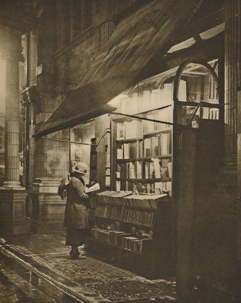 'Wet Winter Evening and a Book Lover in Bloomsbury', c1935. Creator: Fincham