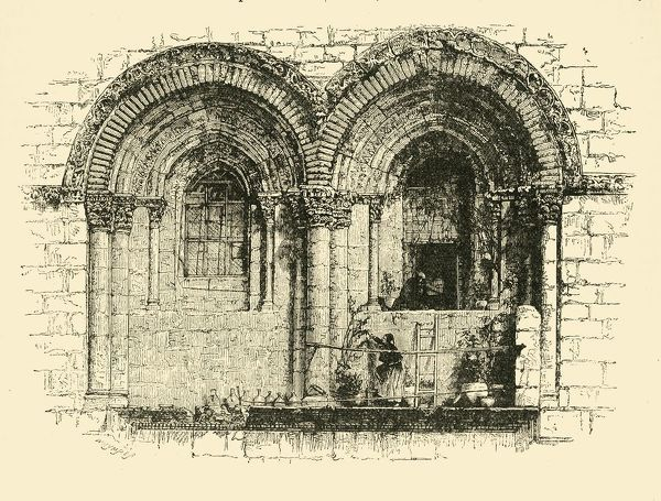 "'Windows of the Church of the Holy Sepulchre, Jerusalem', 1890. Destroyed by fire in 614 AD during Sassanid invasion, Emperor Heraclius rebuilt the church in 630AD. Rebuilding was finally completed in 1048. From ""Cassell's Illustrated Universal History, Vol"